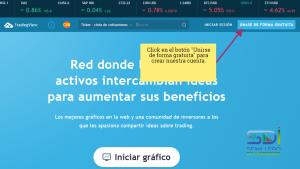 Botón crear cuenta en Tradingview